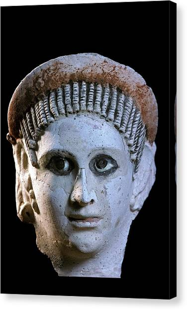Hellenistic Art Canvas Print - Funerary Mask by Patrick Landmann/science Photo Library