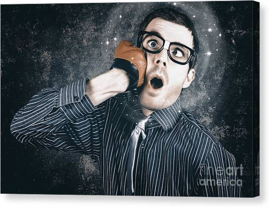 Knockout Canvas Print - Funny Businessman Making Impact With Smashing Idea by Jorgo Photography - Wall Art Gallery