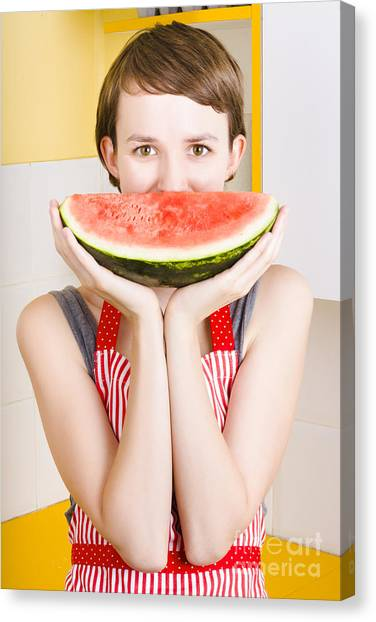 Watermelons Canvas Print - Funny Woman With Juicy Fruit Smile by Jorgo Photography - Wall Art Gallery