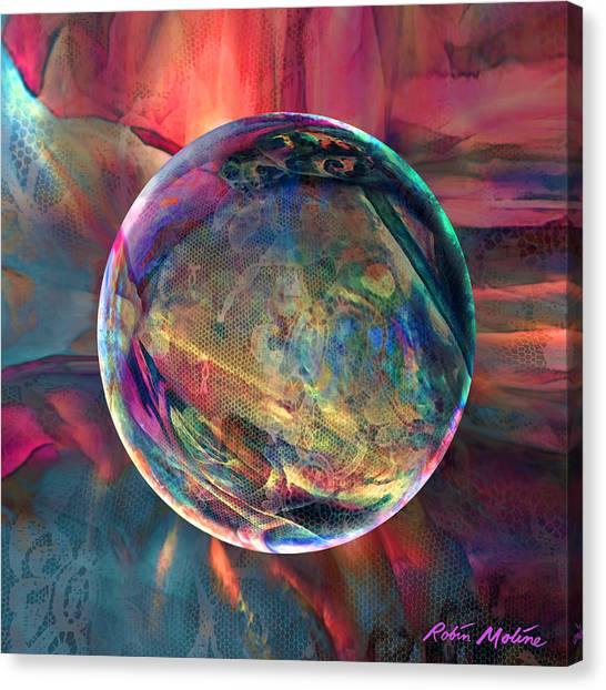 Abstractions Canvas Print - Ghosting Psychedelic Lace by Robin Moline