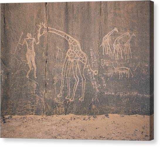 Sahara Desert Canvas Print - Giraffe Petroglyph by David Parker/science Photo Library