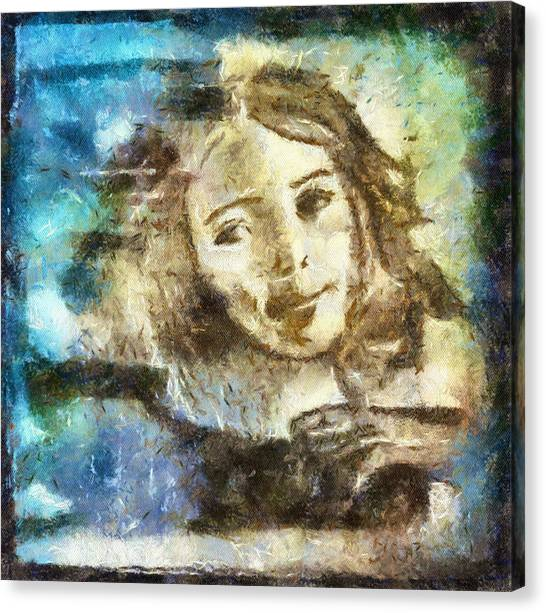 Girl In Blue Canvas Print by Jennifer Woodworth