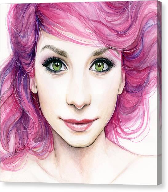 Magenta Canvas Print - Girl With Magenta Hair by Olga Shvartsur