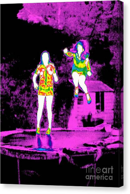 Trampoline Canvas Print - Girls Trampolining, Thermogram by Tony McConnell