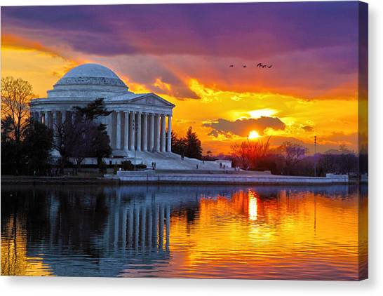 Jefferson Memorial Canvas Print - Glow by Mitch Cat