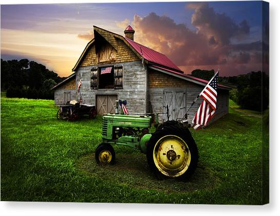 Hay Bales Canvas Print - God Bless America by Debra and Dave Vanderlaan