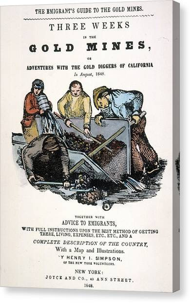 Instructions Canvas Print - Gold Rush Guidebook, 1848 by Granger