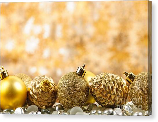 Pine Cones Canvas Print - Golden Christmas  by Elena Elisseeva