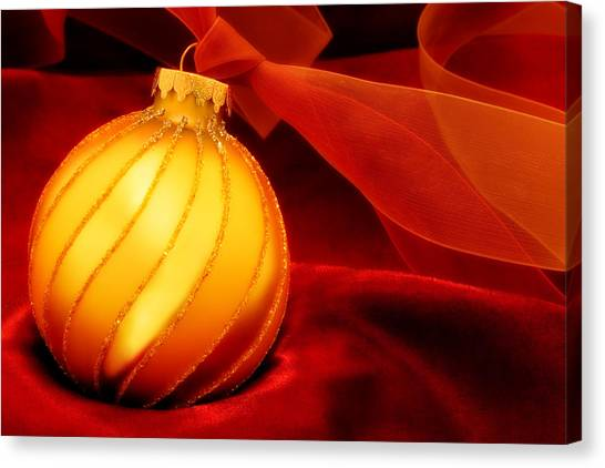 Soft Focus Canvas Print - Golden Ornament With Red Ribbons by Carol Leigh
