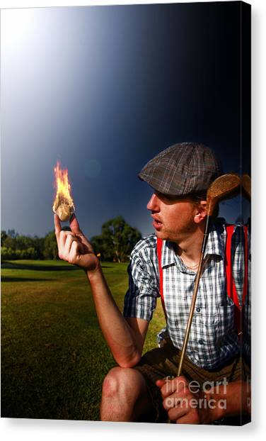 Night Shirt Canvas Print - Golf Ball Flames by Jorgo Photography - Wall Art Gallery