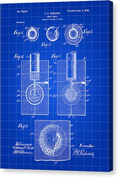 Golf Ball Patent 1902 - Blue Canvas Print
