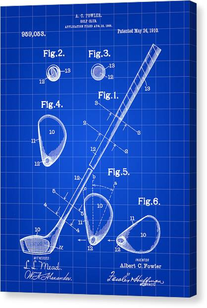Courses Canvas Print - Golf Club Patent 1909 - Blue by Stephen Younts