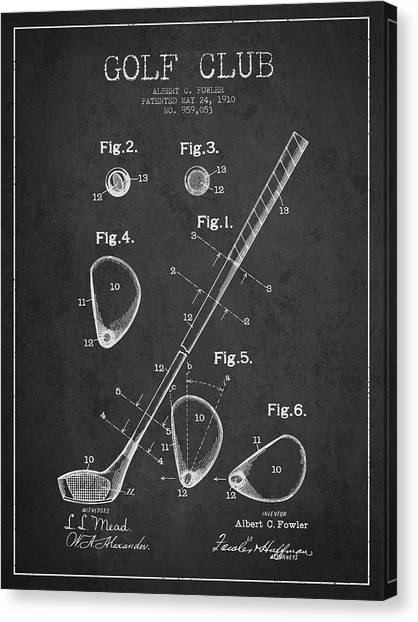 Pga Canvas Print - Golf Club Patent Drawing From 1910 by Aged Pixel