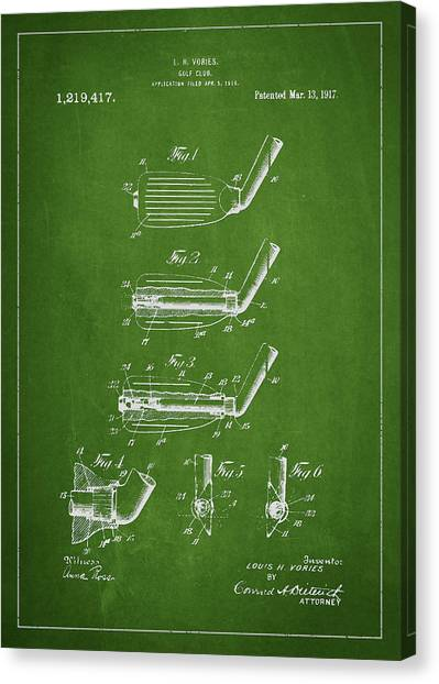 Pga Canvas Print - Golf Club Patent Drawing From 1917 by Aged Pixel