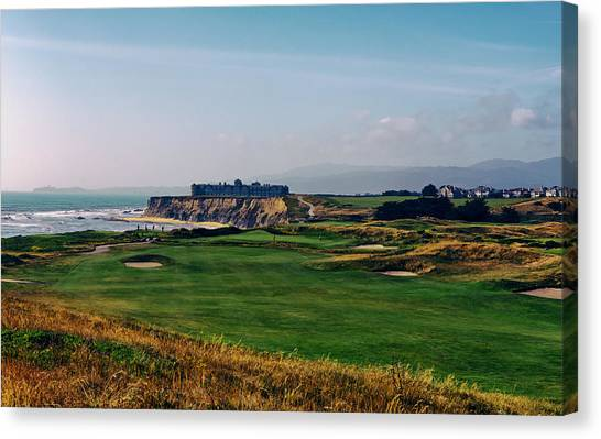 Analog Canvas Print - Golf Course On Half Moon Bay by Mountain Dreams