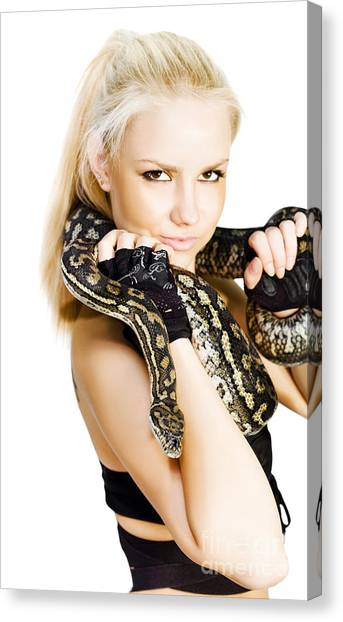 Pythons Canvas Print - Gorgeous Blonde Snake Handler by Jorgo Photography - Wall Art Gallery