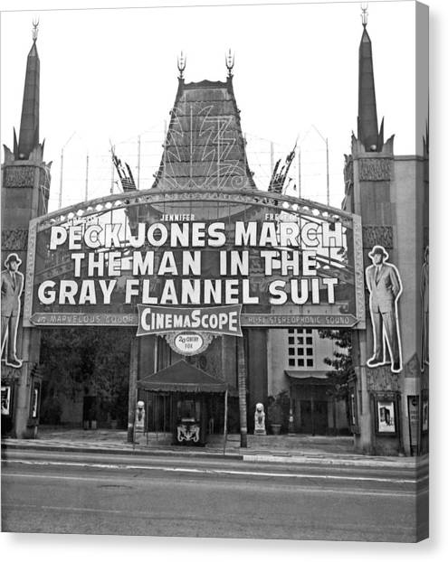 Flannel Canvas Print - Grauman's Chinese Theater by Underwood Archives