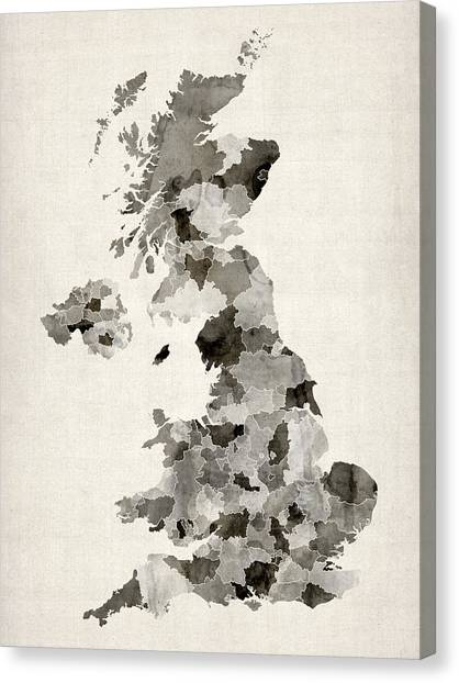 Uk Canvas Print - Great Britain Uk Watercolor Map by Michael Tompsett