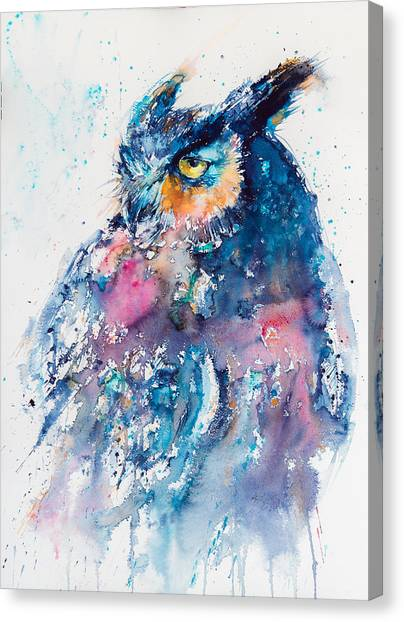 Owls Canvas Print - Great Horned Owl by Kovacs Anna Brigitta