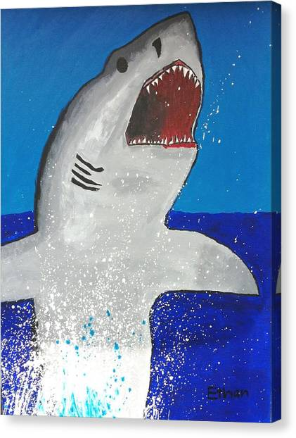 Giant Great White Canvas Print by Ethan Chaupiz