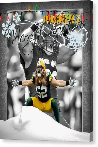 Clay Matthews Canvas Print - Green Bay Packers Christmas Card by Joe Hamilton
