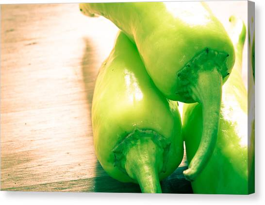 Condiments Canvas Print - Green Jalapeno Peppers by Tom Gowanlock