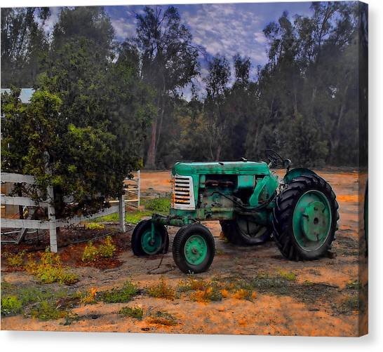 Green Oliver Tractor Canvas Print