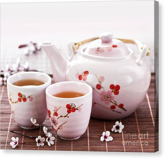Tea Pot Canvas Print - Green Tea Set by Elena Elisseeva
