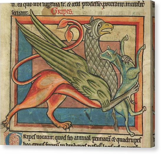 Griffon Canvas Print - Griffin Carries Its Prey by British Library