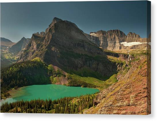 World Heritage Site Canvas Print - Grinnell Lake And Mount Gould, Glacier by Howie Garber