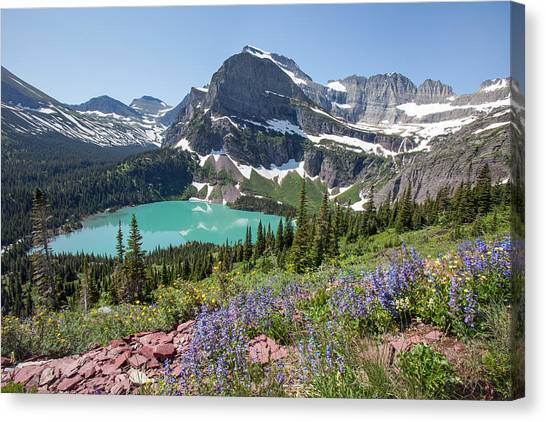 Grinnell Lake Flowers Canvas Print