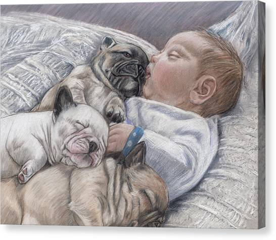 French Bull Dogs Canvas Print - Guardian Angles by Ellen Lyner