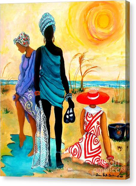 Crabbing Canvas Print - Gullah-creole Trio  by Diane Britton Dunham