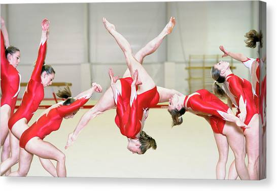 Tumbling Canvas Print - Gymnast Performing A Free Walkover by Gustoimages/science Photo Library