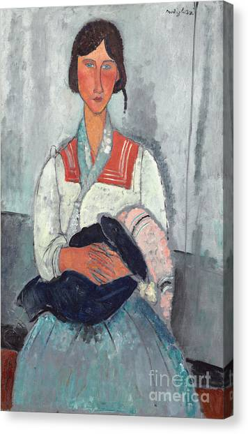 Hand Canvas Print - Gypsy Woman With Baby by Amedeo Modigliani