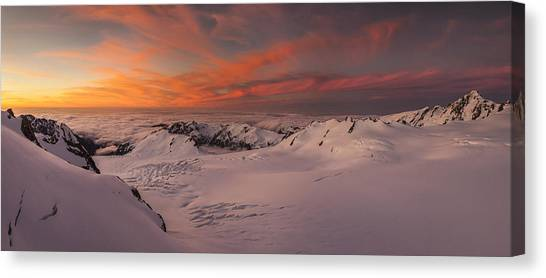 Fox Glacier Canvas Print - Halcombe Peak And Fox Glacier  by Colin Monteath