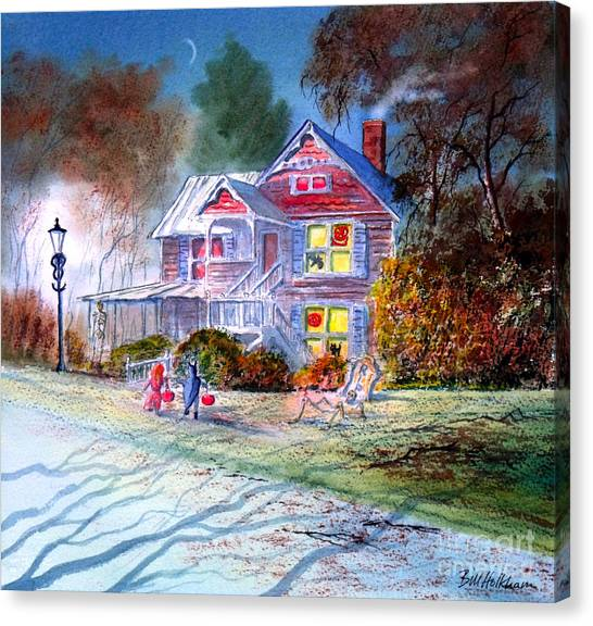 The Haunted House Canvas Print - Halloween Trick Or Treat by Bill Holkham