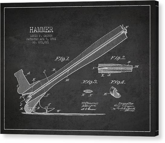 Hammers Canvas Print - Hammer Patent Drawing From 1901 by Aged Pixel