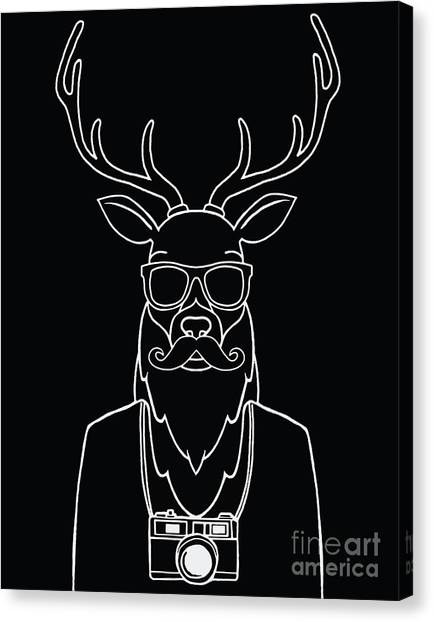 Winter Canvas Print - Hand Drawn Hipster Deer In Sunglasses by 9george