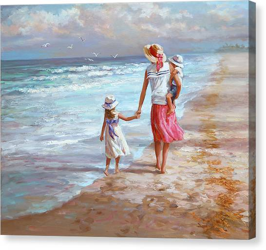 Big Sister Canvas Print - Hand In Hand by Laurie Hein