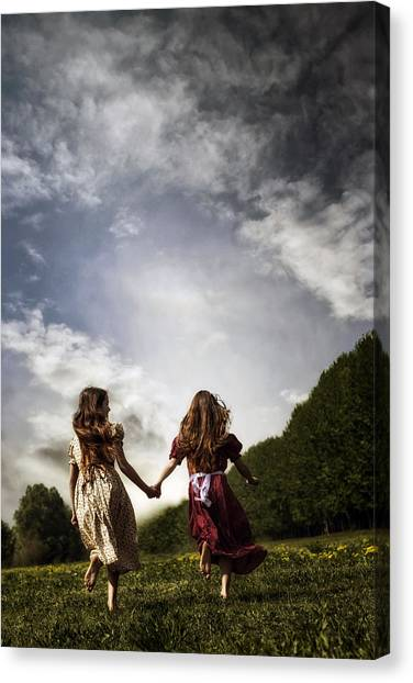 Running Backs Canvas Print - Hand In Hand Through Life by Joana Kruse