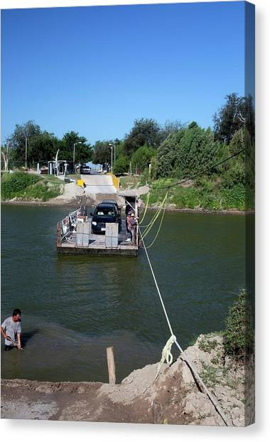 Rio Grande River Canvas Print - Hand-powered Ferry by Jim West