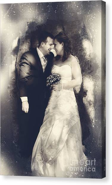 Wedding Gown Canvas Print - Happy Bride And Groom In A Wedding Romance by Jorgo Photography - Wall Art Gallery