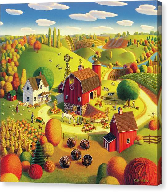 Turkeys Canvas Print - Harvest Bounty by Robin Moline