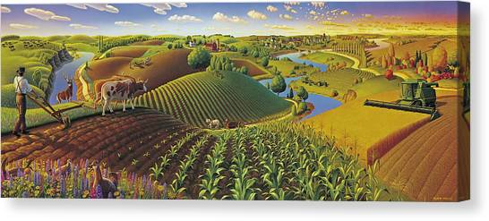 Rural Scenes Canvas Print - Harvest Panorama  by Robin Moline