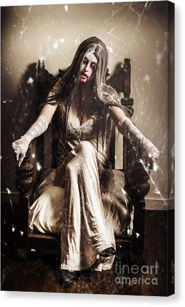 Spider Web Canvas Print - Haunting Horror Scene With A Strange Vampire Girl  by Jorgo Photography - Wall Art Gallery