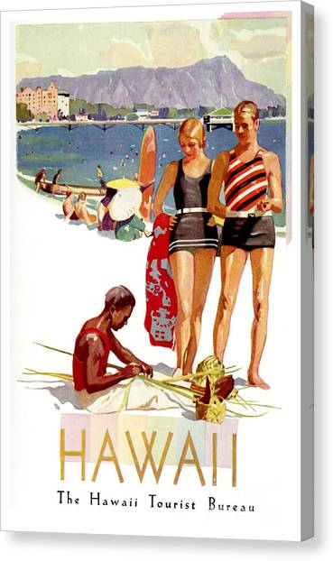 Surfboard Canvas Print - Hawaii Vintage Travel Poster by Jon Neidert
