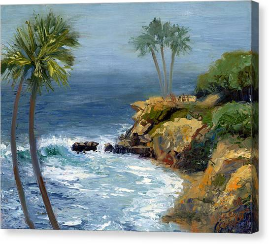 Ocean Cliffs Canvas Print - Heisler Park by Alice Leggett