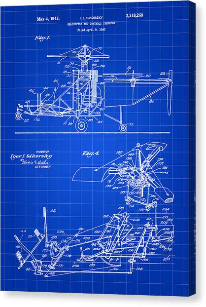 Helicopters Canvas Print - Helicopter Patent 1940 - Blue by Stephen Younts