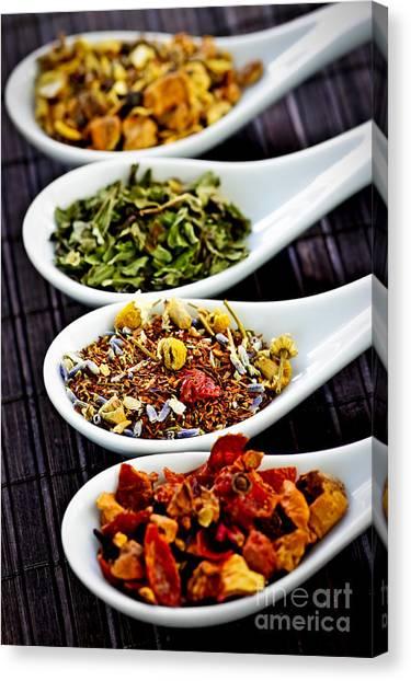 Tea Leaves Canvas Print - Herbal Teas by Elena Elisseeva